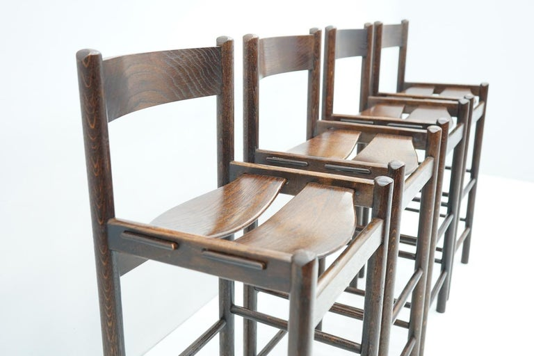 Set of Four Wood Bar Stools, 1970s In Good Condition For Sale In Frankfurt / Dreieich, DE