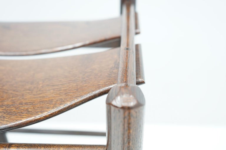 Late 20th Century Set of Four Wood Bar Stools, 1970s For Sale