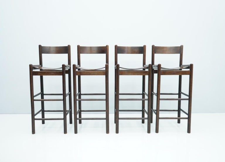 Set of Four Wood Bar Stools, 1970s For Sale 2