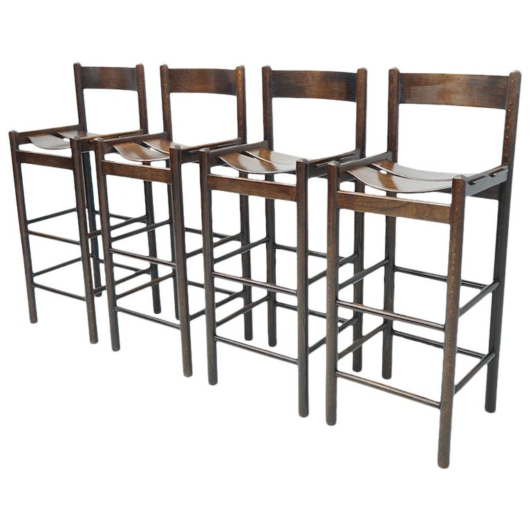 Set of Four Wood Bar Stools, 1970s For Sale