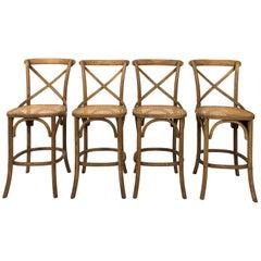 Set of Four Wood Barstools