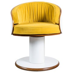 Set of Four Wood, Formica and Velvet Swivel Chairs, Designed by Ricardo Blanco