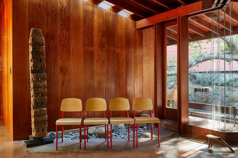 Mid-Century Modern Set of Four Wood and Metal Chairs in the Style of Jean Prouvé