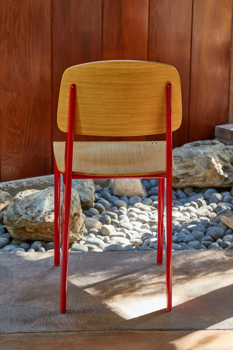 Set of Four Wood and Metal Chairs in the Style of Jean Prouvé 2