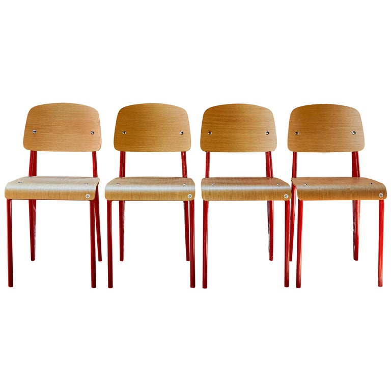 Set of Four Wood and Metal Chairs in the Style of Jean Prouvé