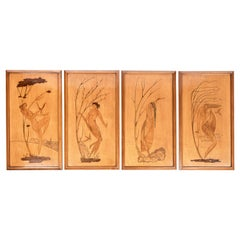 """Set of Four Wood Plaques with Marquetry, """"The Four Seasons"""", Italy, 1950"""