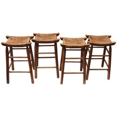 Set of Four Wood Stools with Rush Seats