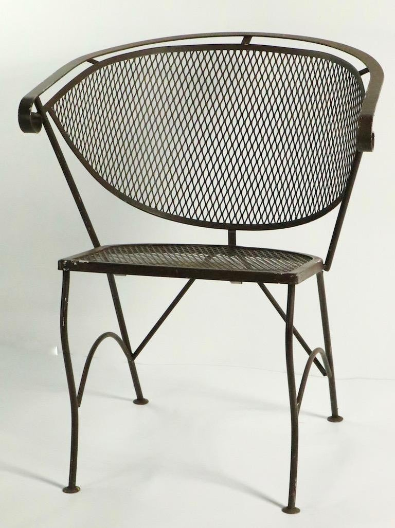 Wrought Iron Set of Four Woodard Dining Chairs For Sale