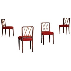 Set of Four Wooden Chairs by Gio Ponti 1950 Midcentury Style