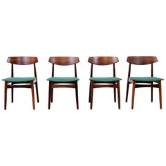 Set of Four Wooden Danish Design Chairs by Skovby Mobler