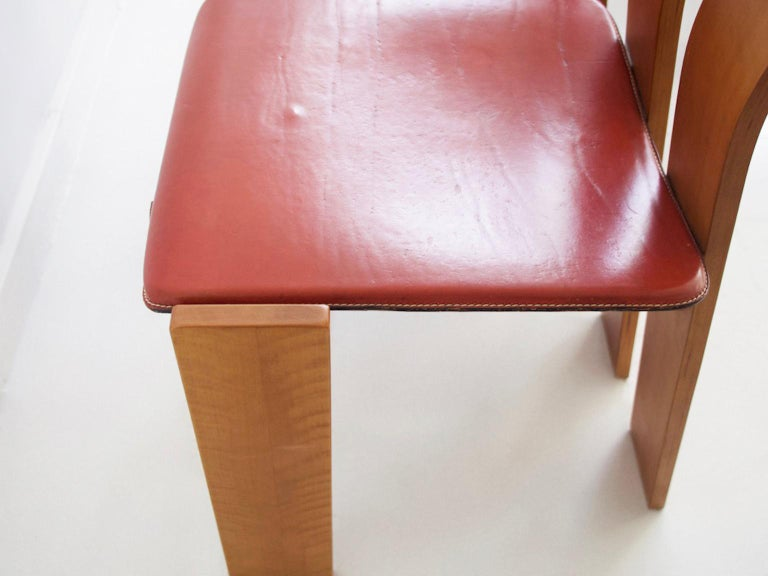 Set of Four Wooden Dining Chairs, 1950s For Sale 3
