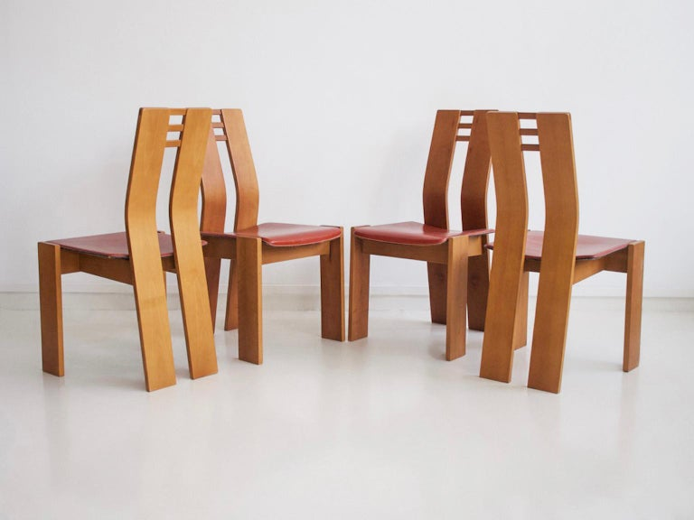 Mid-Century Modern Set of Four Wooden Dining Chairs, 1950s For Sale