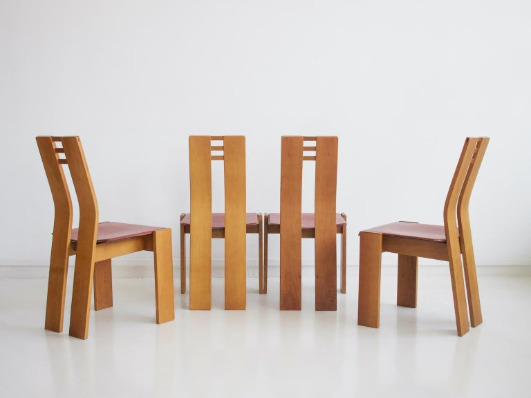 Italian Set of Four Wooden Dining Chairs, 1950s For Sale