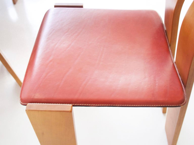 Leather Set of Four Wooden Dining Chairs, 1950s For Sale