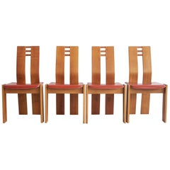 Set of Four Wooden Dining Chairs, 1950s