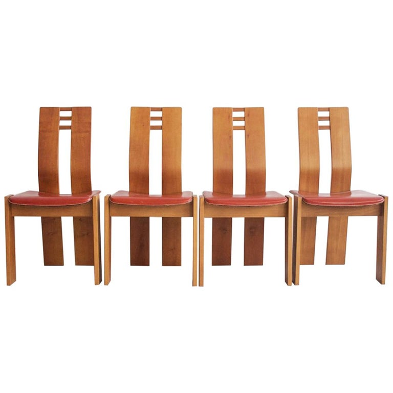 Set of Four Wooden Dining Chairs, 1950s For Sale