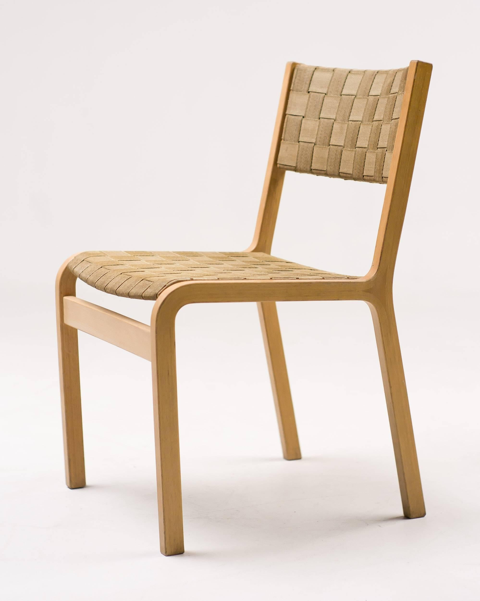 set of four woven canvas strap plywood dining chairs for sale at 1stdibs rh 1stdibs com
