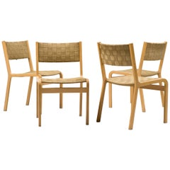 Set of Four Woven Canvas Strap Plywood Dining Chairs
