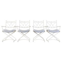 Set of Four Wrought Iron Director Style Garden Armchairs