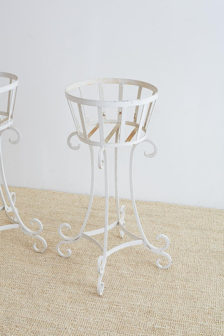 American Set of Four Wrought Iron Painted Plant Stands For Sale