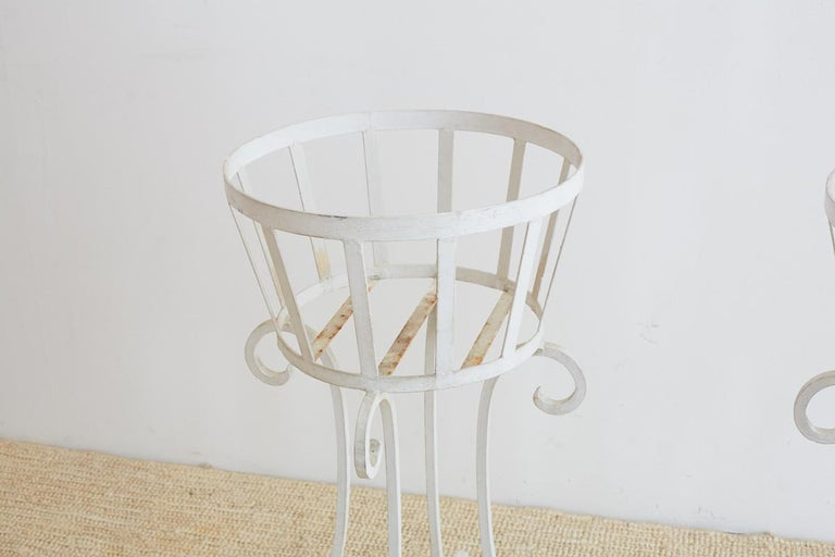 20th Century Set of Four Wrought Iron Painted Plant Stands For Sale