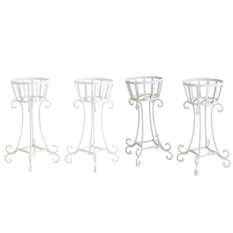 Set of Four Wrought Iron Painted Plant Stands For Sale