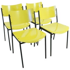 Set of Four Yellow 1960s Vintage Chairs
