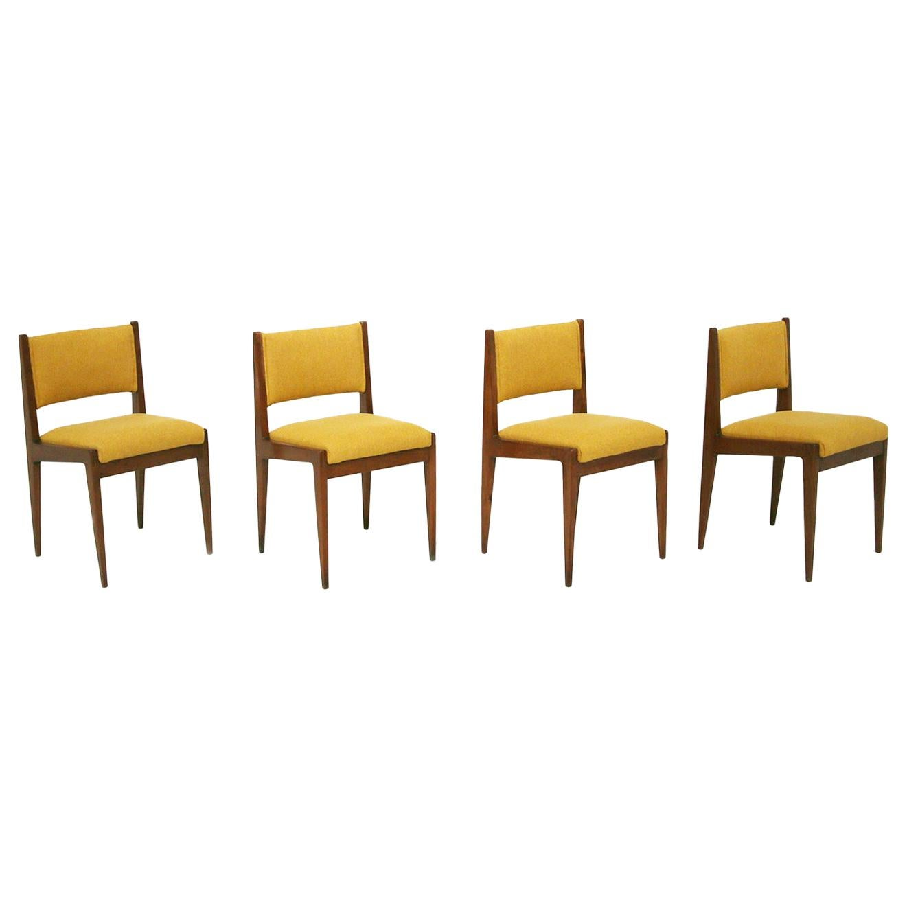 Set of Four Yellow Chair by Gianfranco Frattini for Bottega Ghianda, 1960s