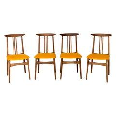 Set of Four Yellow Chairs, by Zielinski, Poland, 1960s