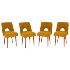 Set of Four Yellow Ochre Boucle 'Shell' Chairs, 1960s