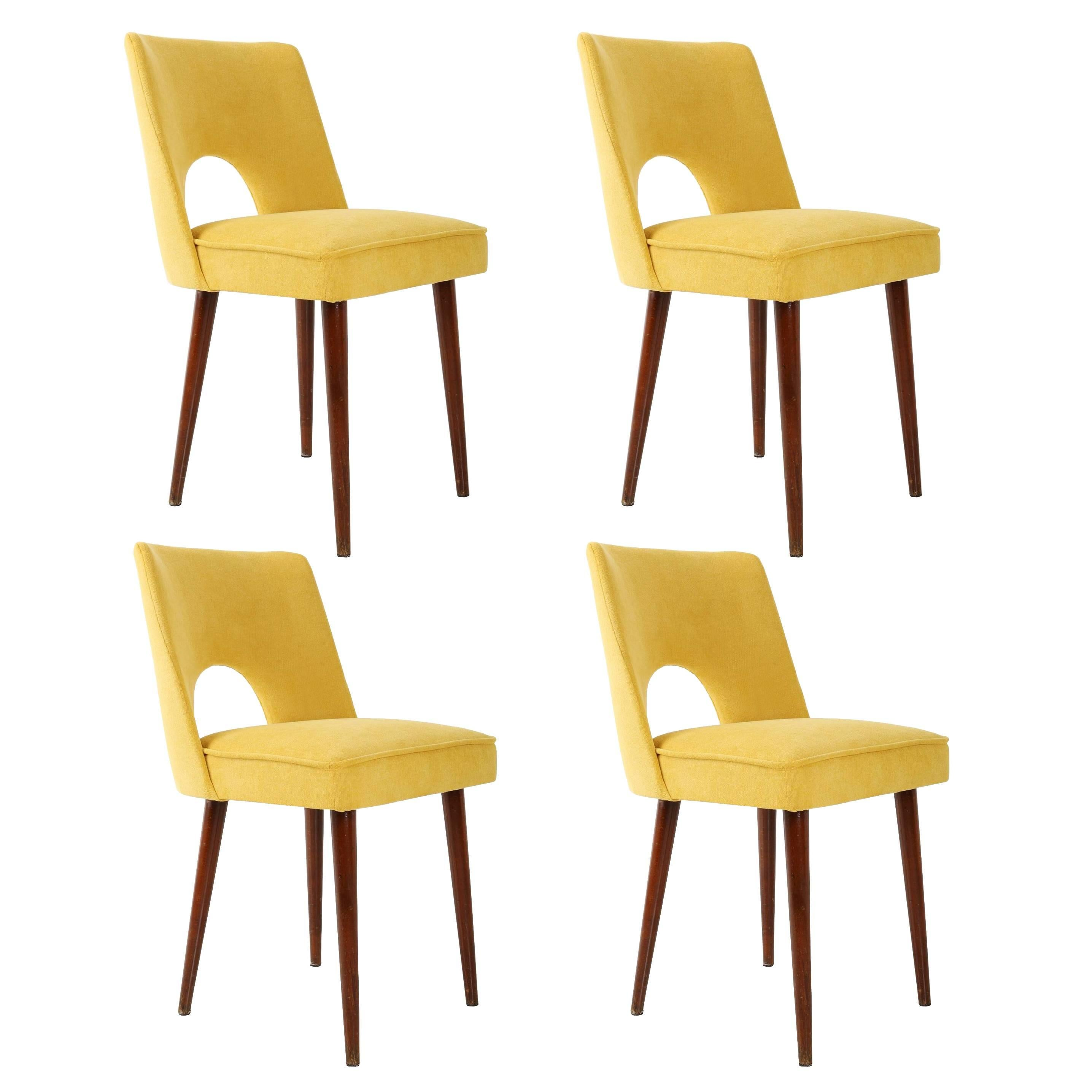 """Set of Four Yellow """"Shell"""" Chairs, Poland, 1960s"""