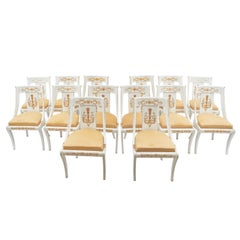 Set of Fourteen French Empire Painted Wooden Chairs, circa 1820