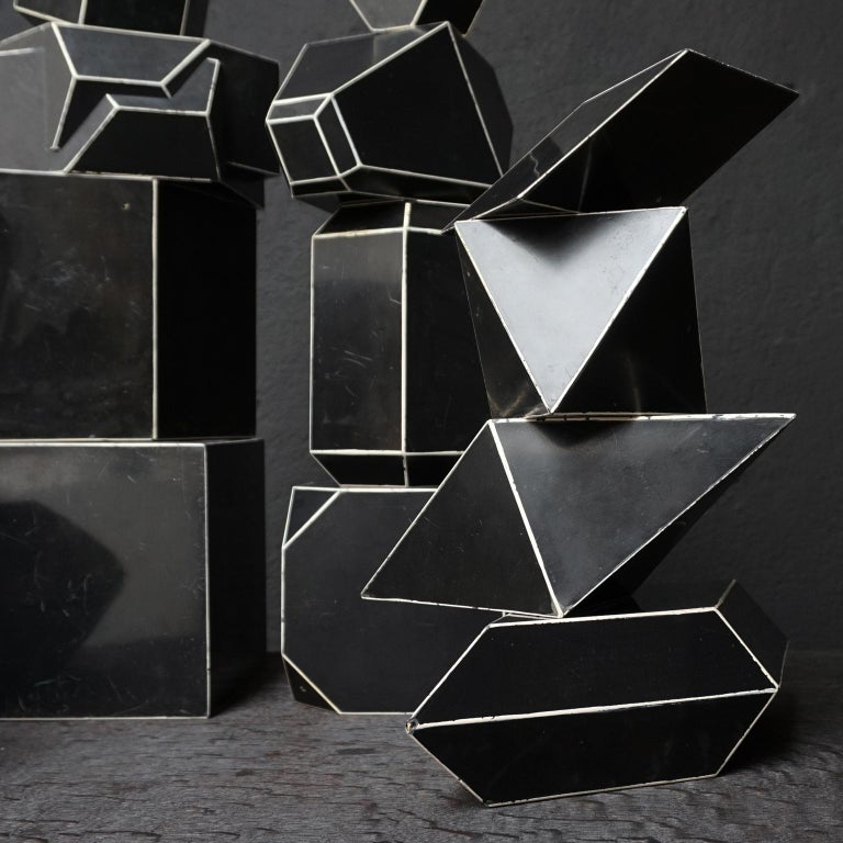 Set of Fourteen Geometric Bakelite Art Deco Science Classroom Crystal Models For Sale 5