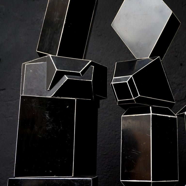 Set of Fourteen Geometric Bakelite Art Deco Science Classroom Crystal Models For Sale 7