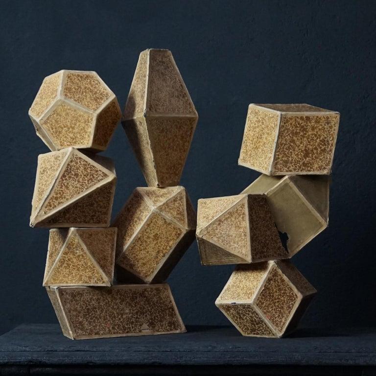Set of Fourteen Geometric Bakelite Art Deco Science Classroom Crystal Models For Sale 10