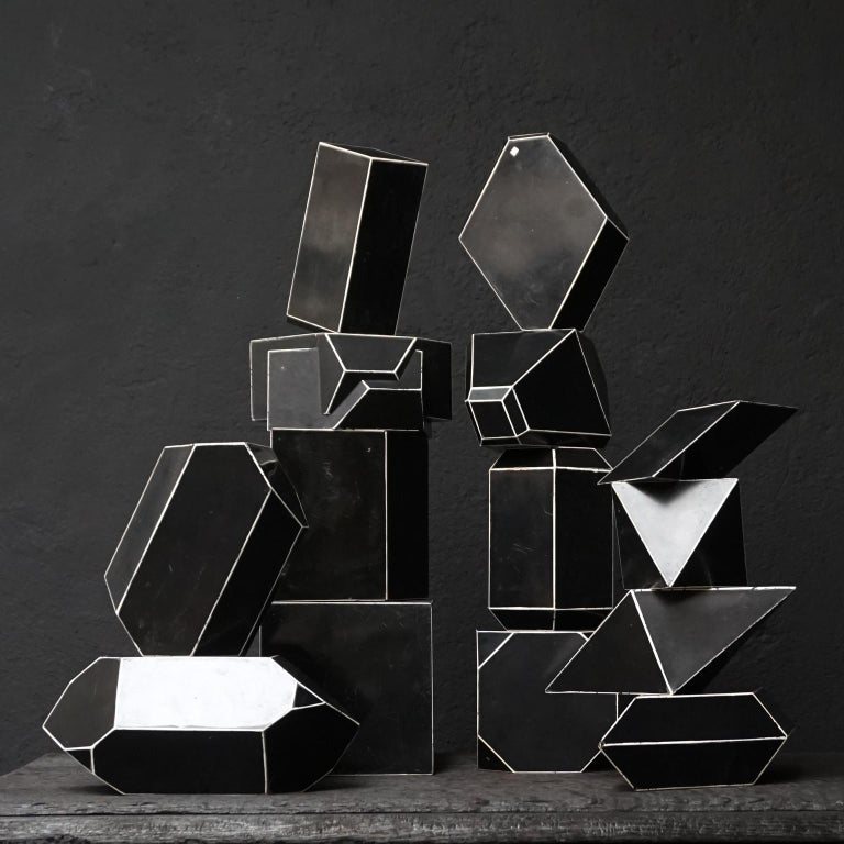 French Set of Fourteen Geometric Bakelite Art Deco Science Classroom Crystal Models For Sale