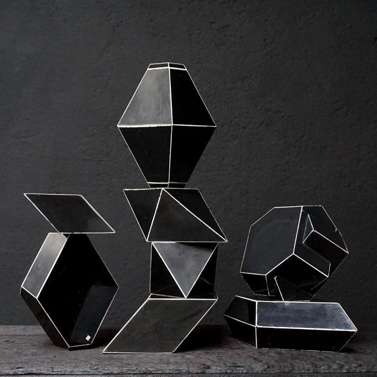 Set of Fourteen Geometric Bakelite Art Deco Science Classroom Crystal Models For Sale 4