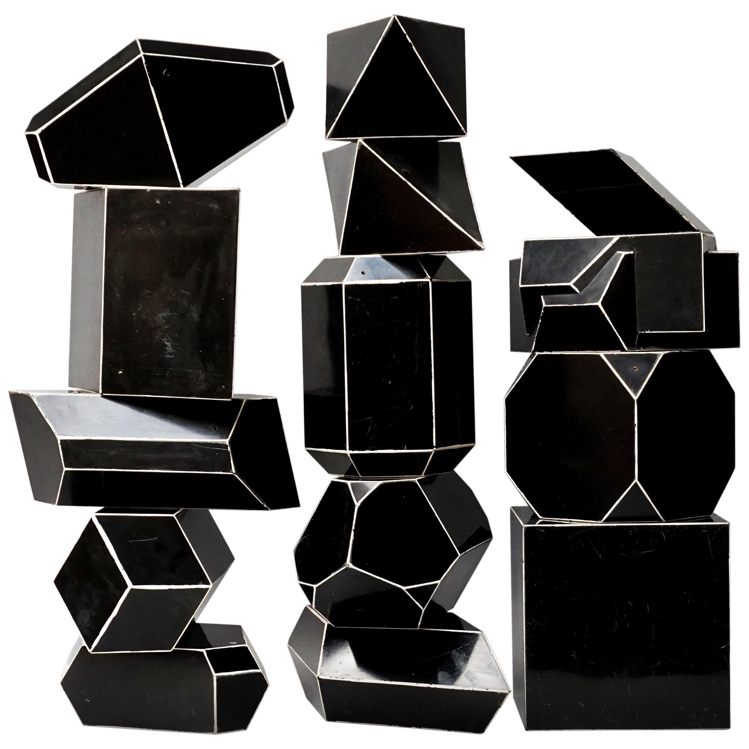 Set of Fourteen Geometric Bakelite Art Deco Science Classroom Crystal Models