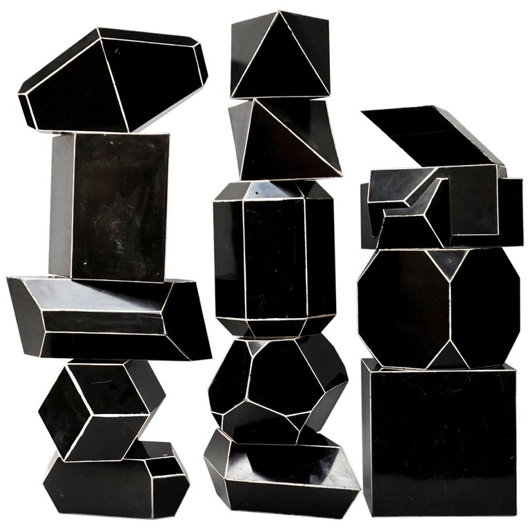 Set of Fourteen Geometric Bakelite Art Deco Science Classroom Crystal Models For Sale