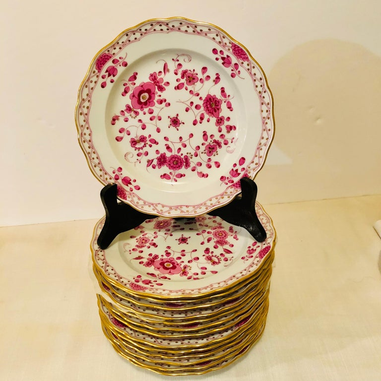 Rococo Set of Fourteen Meissen Purple Indian Dessert Plates from the Late 19th Century