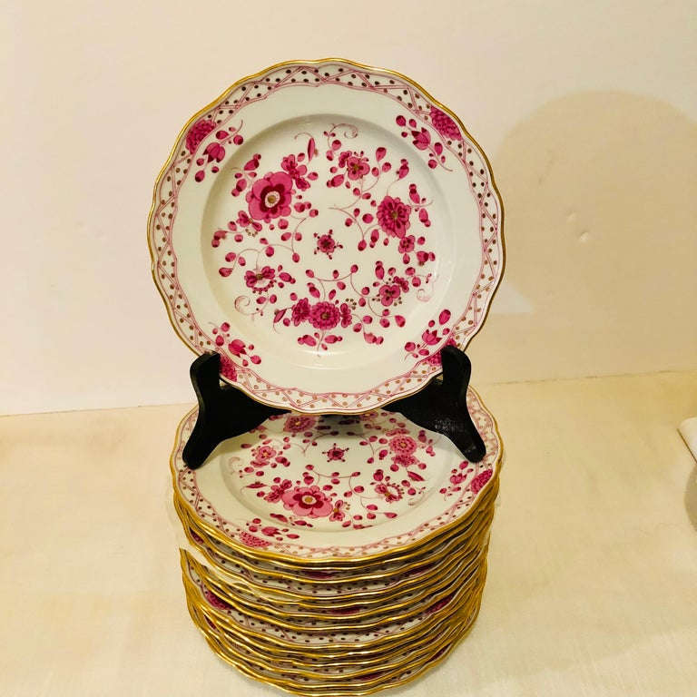 German Set of Fourteen Meissen Purple Indian Dessert Plates from the Late 19th Century
