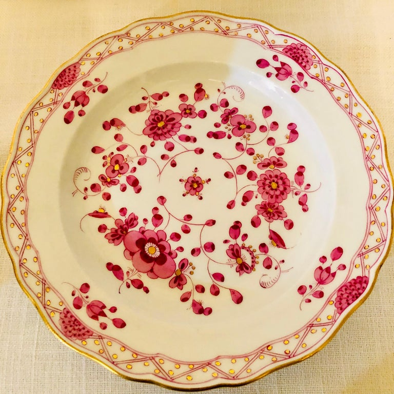 Set of Fourteen Meissen Purple Indian Dessert Plates from the Late 19th Century 1