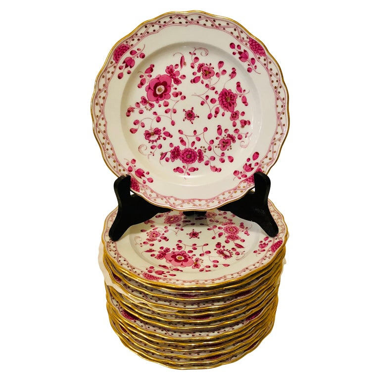Set of Fourteen Meissen Purple Indian Dessert Plates from the Late 19th Century