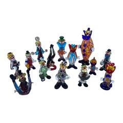 Set of Fourteen Murano Glass Clowns, 20th Century
