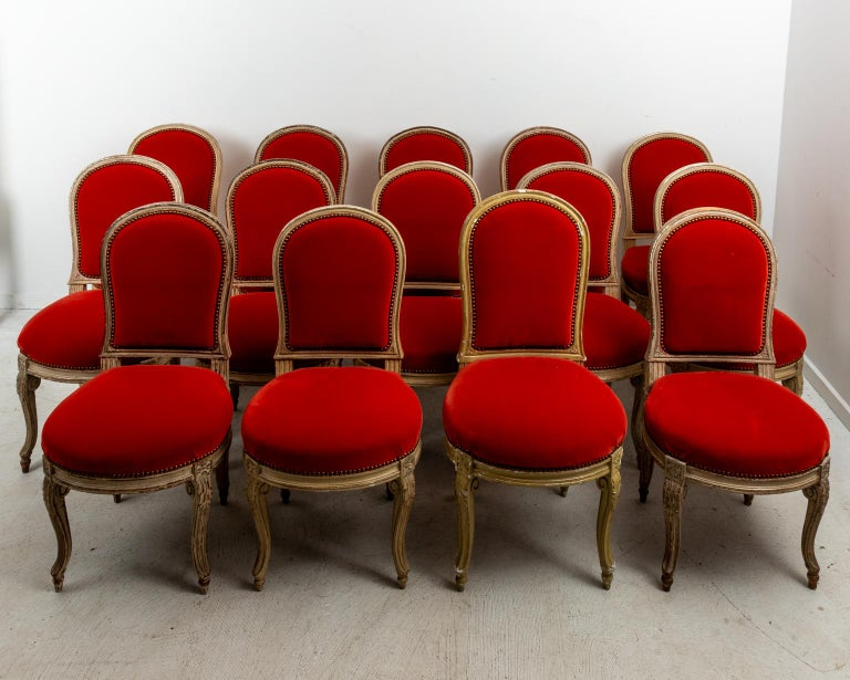 Set of Fourteen Orange Velvet Upholstered Dining Chairs, circa 1920s In Good Condition For Sale In Stamford, CT