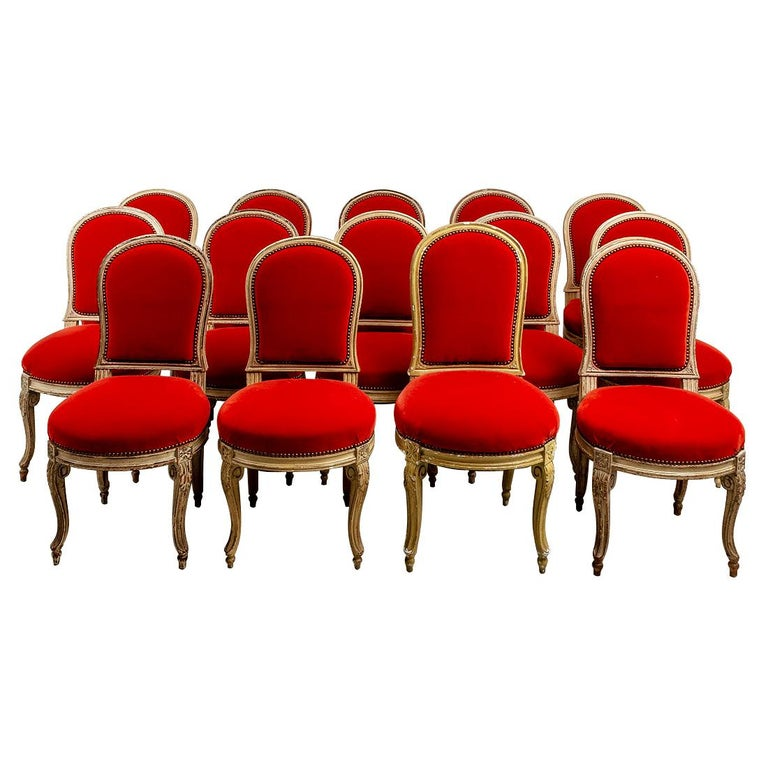 Set of Fourteen Orange Velvet Upholstered Dining Chairs, circa 1920s For Sale