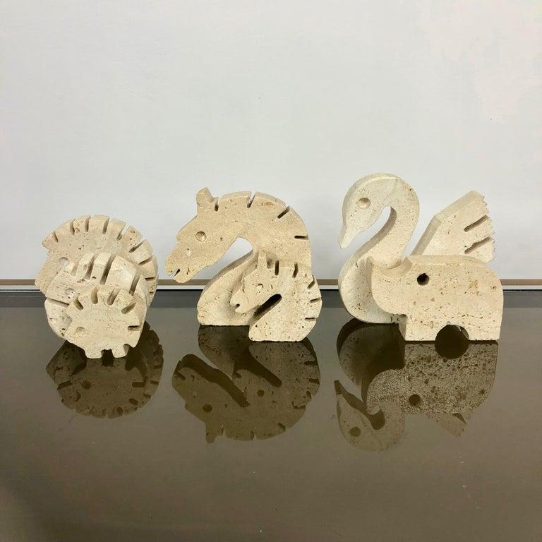 Set of Fratelli Mannelli Minimalist Animals Travertine Sculpture Letter Holder For Sale 5
