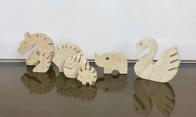 Italian Set of Fratelli Mannelli Minimalist Animals Travertine Sculpture Letter Holder For Sale