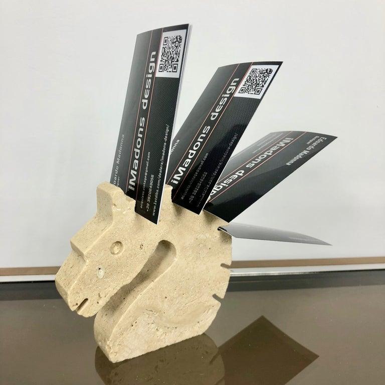Late 20th Century Set of Fratelli Mannelli Minimalist Animals Travertine Sculpture Letter Holder For Sale