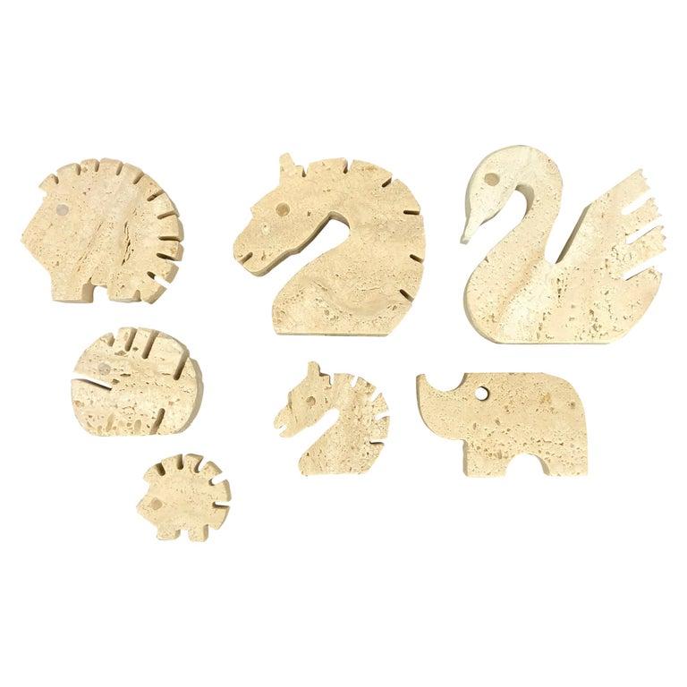 Set of Fratelli Mannelli Minimalist Animals Travertine Sculpture Letter Holder For Sale